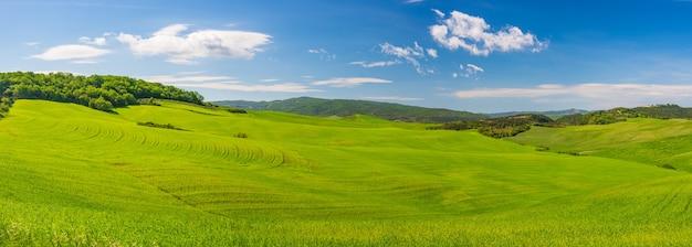 Einzigartige grüne landschaft in der toskana, italien. malerischer blauer himmel und sonnenuntergang über kultivierten hügeln und getreidefeldern. toskana, italien.