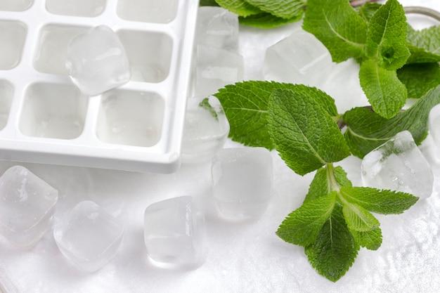 Eis, eisbehälter und minze auf weißem hintergrund. draufsicht.