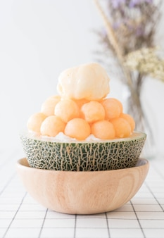 Eis melone bingsu, berühmtes koreanisches eis