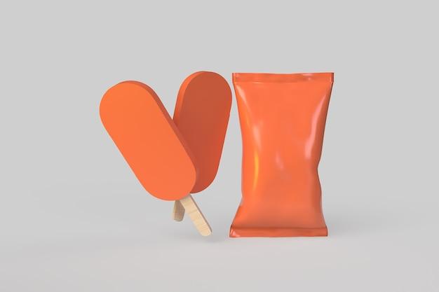 Eis mit verpackung. 3d-rendering-abbildung