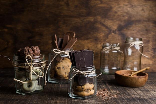 Eis- und schokoladenzusammensetzung