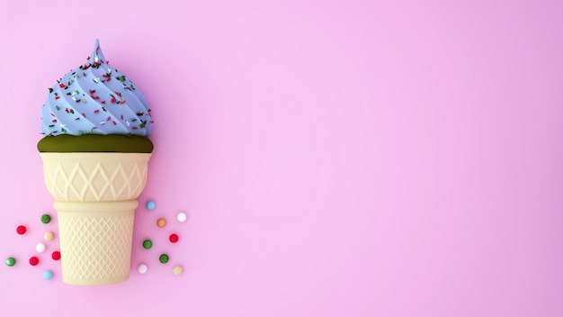 Eiscreme des grünen tees und hellblaue eiscreme überstiegen mit bunten nachtischen auf rosa