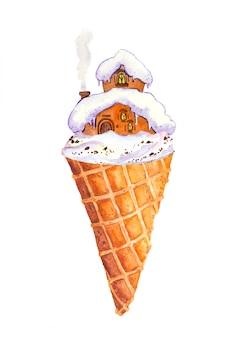 Eiscremekegel mit wintermärchenhaus im schnee aquarell mit warmem haus