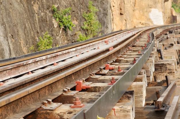 Eisenbahn auf kwai-fluss in thailand