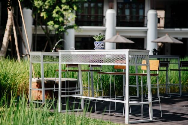 Eisentisch mit einer vase mit pflanzen auf dem tisch mit stahl-holz-stühlen