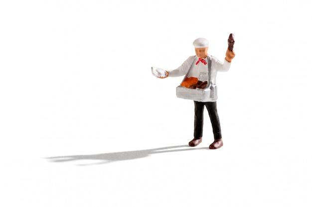 Eisverkäufer mann miniatur auf weiß