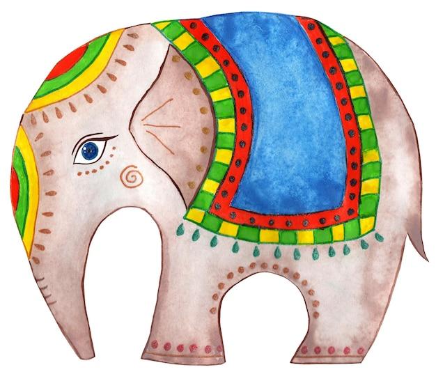 Elefant in decke mit schmuck indischer elefant isoliert auf weißem hintergrund