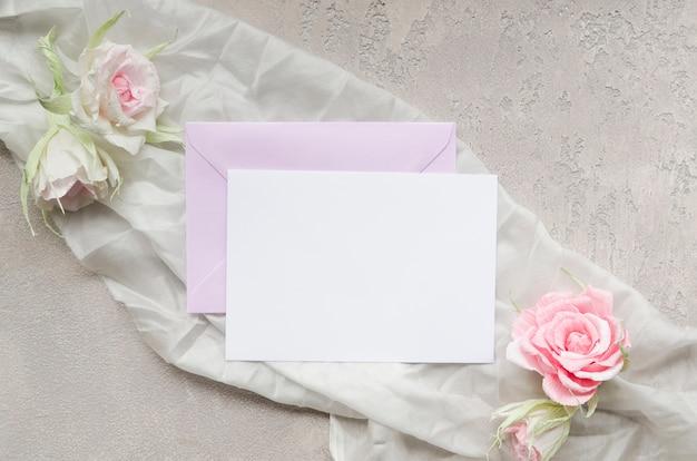 Elegante hochzeitsbriefpapier draufsicht