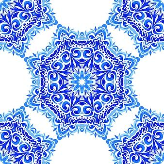 Elegante luxustextur für tapetenhintergründe und seitenfüllung blaue und weiße azulejo-fliesen