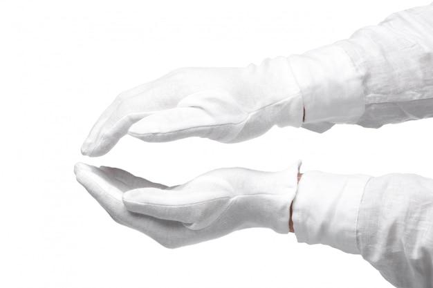 Elegante menschliche hand, die ihren text oder produkt lokalisiert darstellt