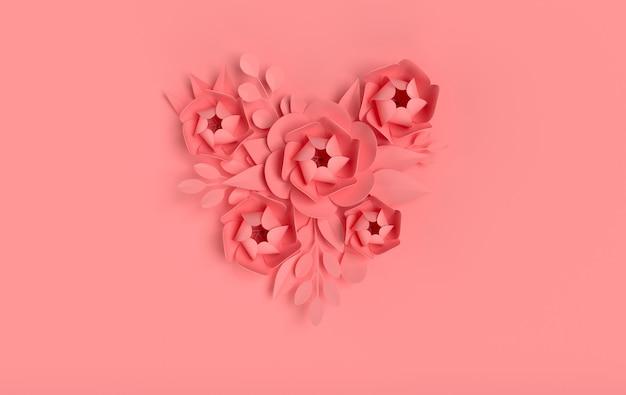 Elegante papierblumen auf rosa oberfläche