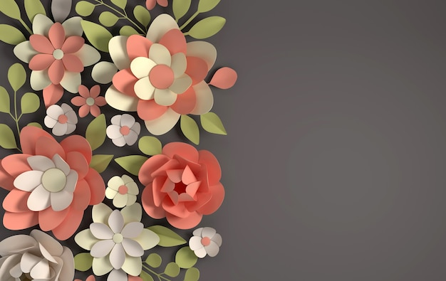 Elegante pastellfarbene papierblumen auf dunklem papier