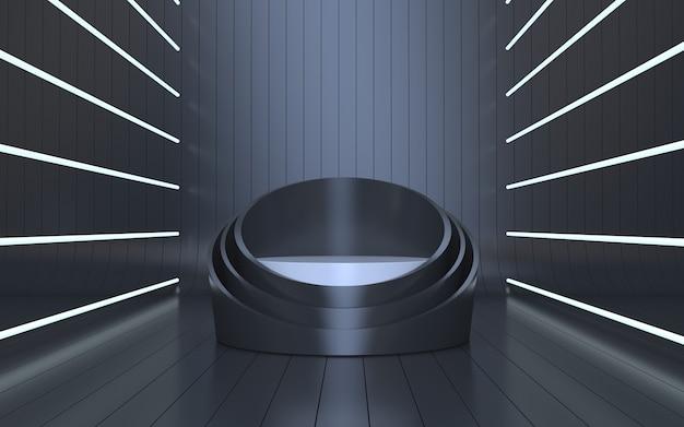 Elegante podiumsbühne für produktpräsentation mit weißem neonlicht