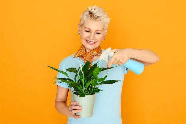 Elegante rentnerin, die zeit drinnen verbringt und sich um zimmerpflanzen kümmert. frau im ruhestand, die topf, sprühflasche hält und grüne blätter der dekorativen pflanze beschlägt, um staub und schmutz zu entfernen. frühling und blüte