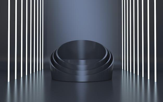 Elegante schwarze podiumsbühne für produktpräsentation mit weißem neonlicht