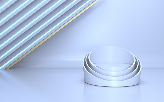 Elegante weiße bühne für produktpräsentation mit weißem neonlicht