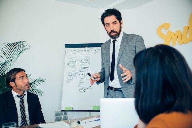 Eleganter geschäftsmann eine finanzielle strategie zu erklären