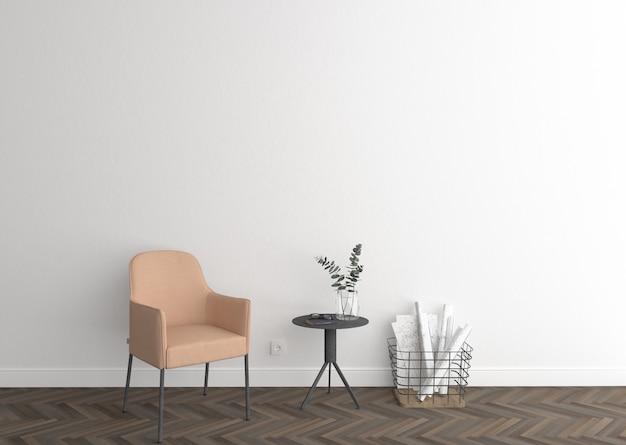 Eleganter innenraum mit weißer leerer wand und rahmen