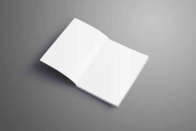 Eleganter leerer a4, (a5) katalog mit weichen realistischen schatten isoliert auf grauer oberfläche. broschüre wird auf der ersten seite geöffnet und kann für ihre vitrine verwendet werden.