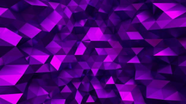 Eleganter lila hintergrund mit dreiecken und kristallen. 3d-illustration