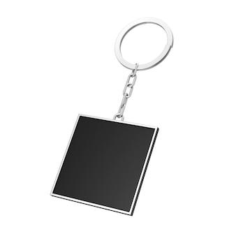 Eleganter schwarzer rechteckiger schlüsselanhänger mit leerzeichen für ihr design auf weißem hintergrund. 3d-rendering