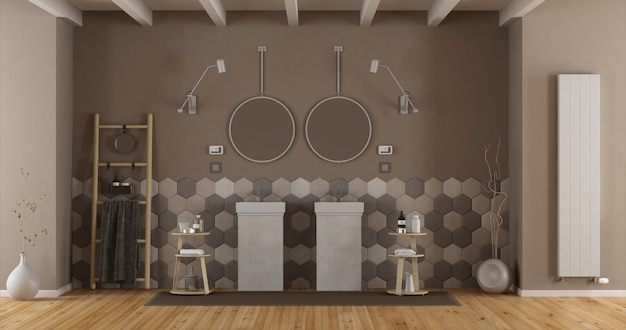 Elegantes badezimmer mit doppelwaschbecken
