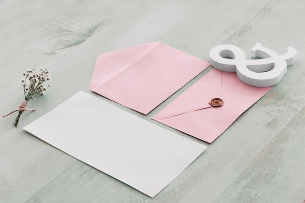 Elegantes briefpapierhochzeitskonzept