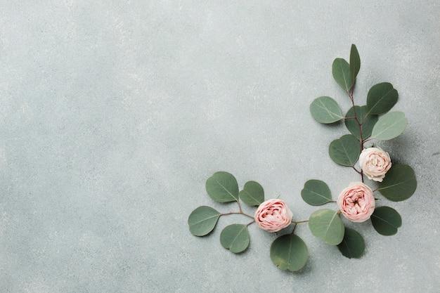 Elegantes konzept mit blättern und rosen kopieren raum