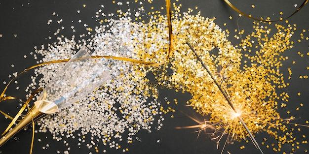 Elegantes neues jahr hintergrund mit konfetti