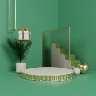 Elegantes podium mit gold und glas