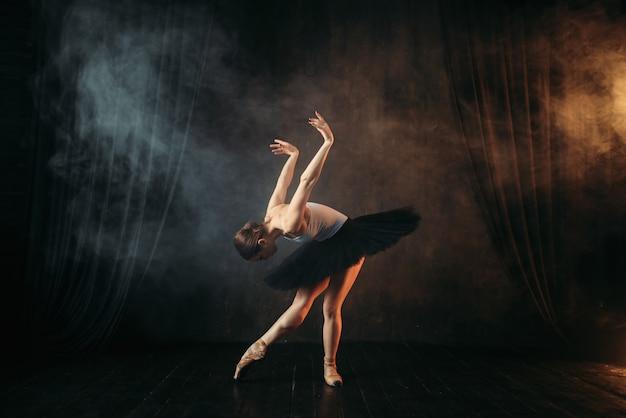 Eleganzballerina in aktion auf der theaterbühne. klassischer balletttänzer in bewegung