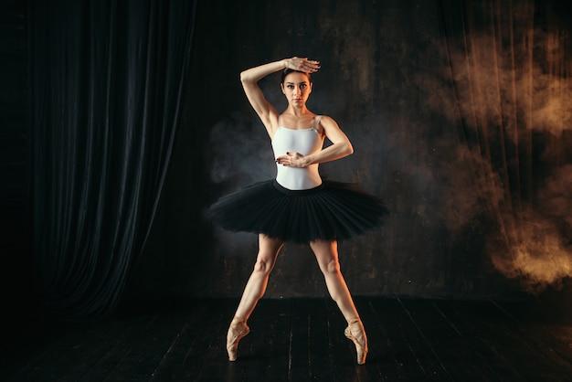 Eleganzballerina in aktion auf der theaterbühne