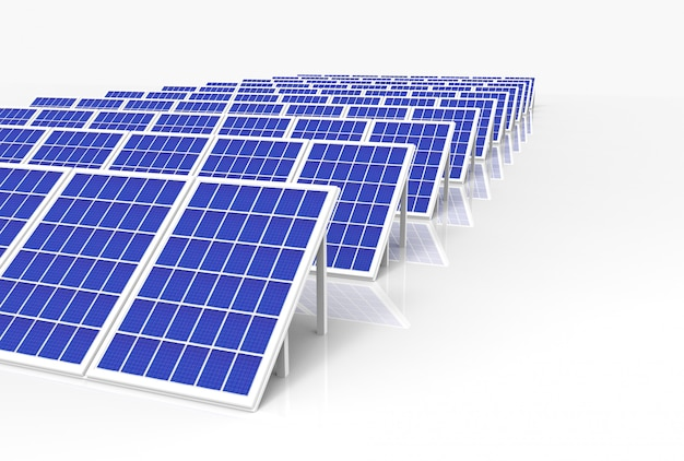 Elektrische energie-generator-system, solarzellen-panels feldbauernhof