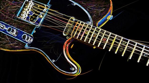 Elektrische gitarre . farbe abstrakte neonmalerei. speicherplatz kopieren