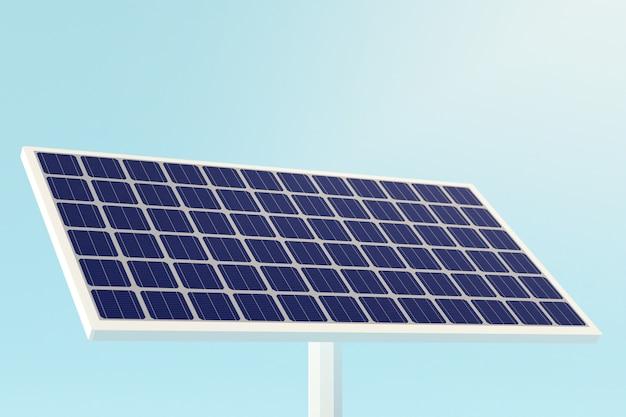 Elektrische saubere energie der solarzellenpaneele, 3d illustration auf blauem himmel.