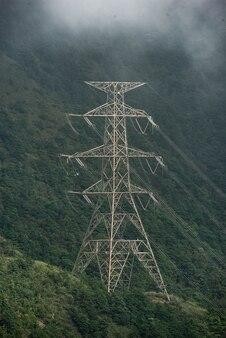 Elektrischer hochspannungspfosten im wald