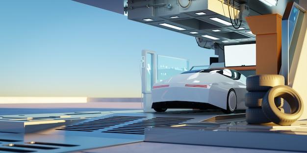 Elektroauto an der futuristischen ladestation. ausgewählte fokussierung. öko-konzept für alternative transport- und batterieladetechnologie. fotorealistisches 3d-rendering.