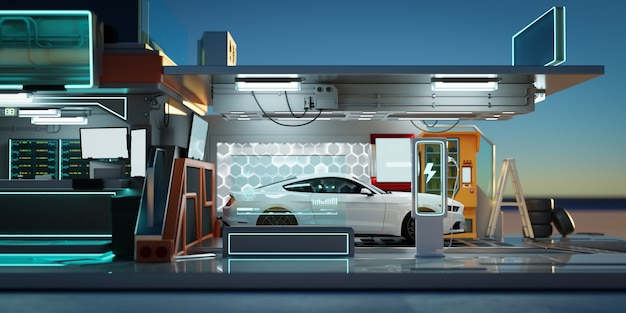 Elektroauto an der futuristischen ladestation. ökologische technologie, öko-konzept für alternativen transport und batterieladetechnologie. fotorealistisches 3d-rendering.