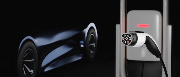 Elektroauto an der ladestation auf dunklem hintergrund. ev-konzept. 3d-darstellung