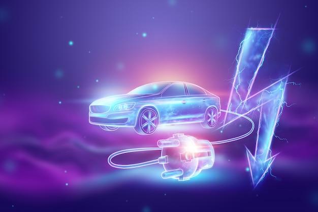 Elektroauto mit ladedraht, hologramm, stromzeichen.