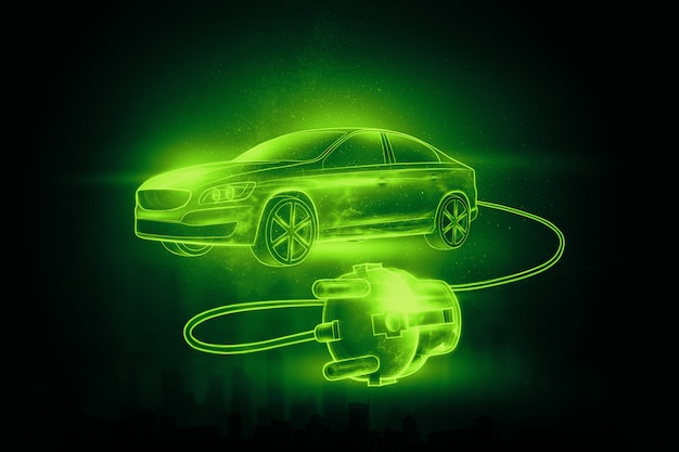 Elektroauto mit ladedraht, hologramm.