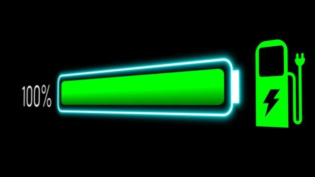Elektroautobatterie im aktiven ladevisions-armaturenbrett