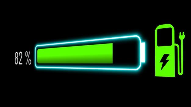 Elektroautobatterie im visionären armaturenbrett mit aktivem laden