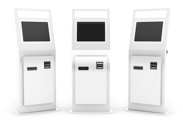 Elektronische bezahlterminals auf weißem hintergrund