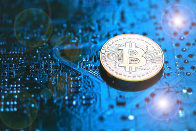 Elektronischer bretthintergrund der bitcoin-währung.