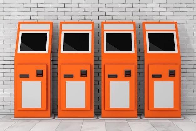 Elektronisches bezahlterminal vor der mauer. 3d-rendering