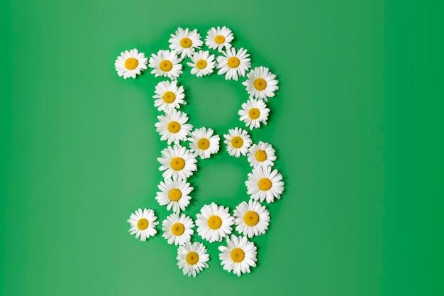 Elektronisches scripto-symbol der bitcoin-währung der weißen gänseblümchen auf einem grünen hintergrund