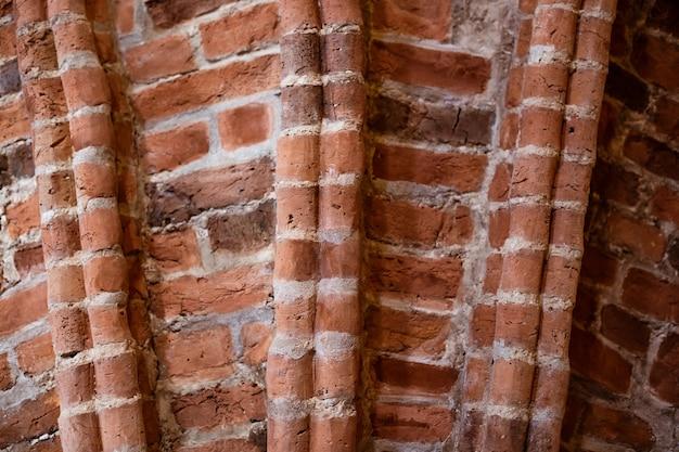 Elemente des alten mauerwerks in nahaufnahme