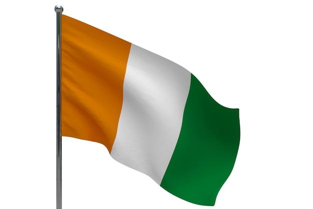Elfenbeinküste - elfenbeinküste flagge auf pole. fahnenmast aus metall. nationalflagge der elfenbeinküste - elfenbeinküste 3d-illustration auf weiß