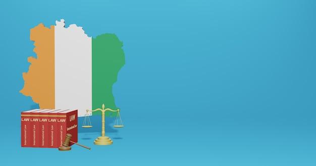 Elfenbeinküstengesetz für infografiken, social media-inhalte in 3d-rendering